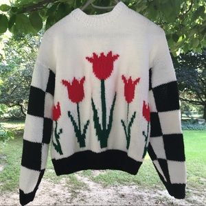 Vintage • Chunky Knit Checkerboard Tulip Sweater